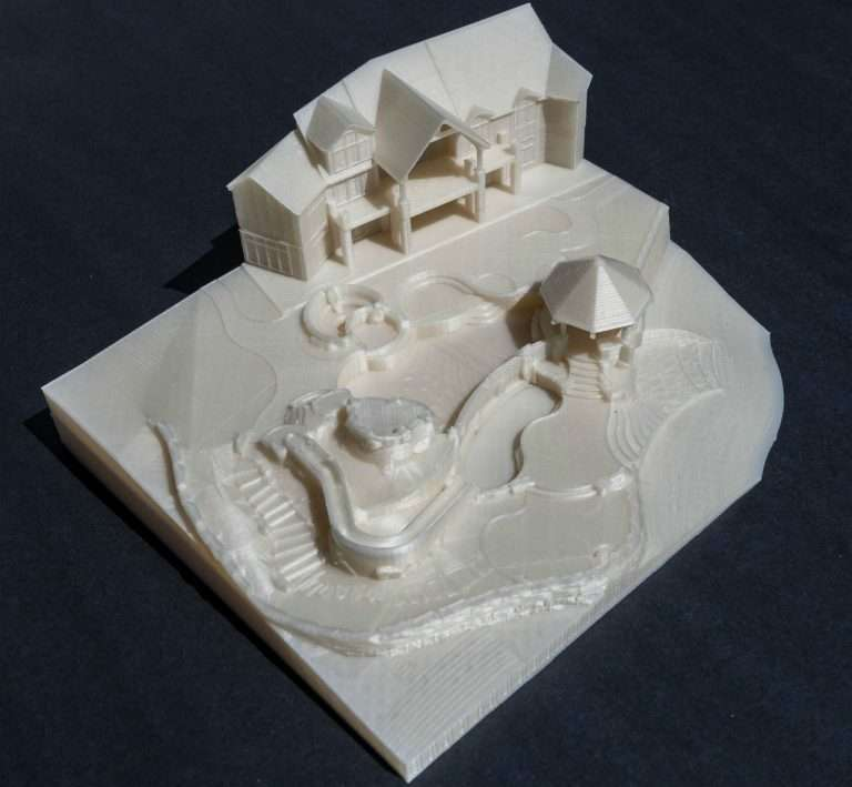 3D printed scale model with pool
