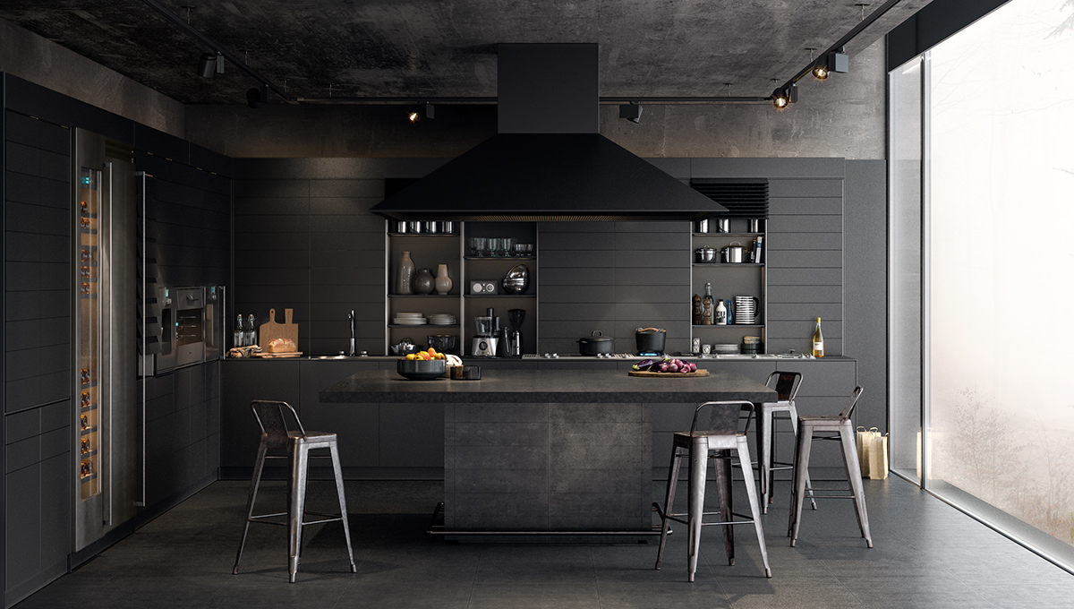 all black kitchen for interior home decor