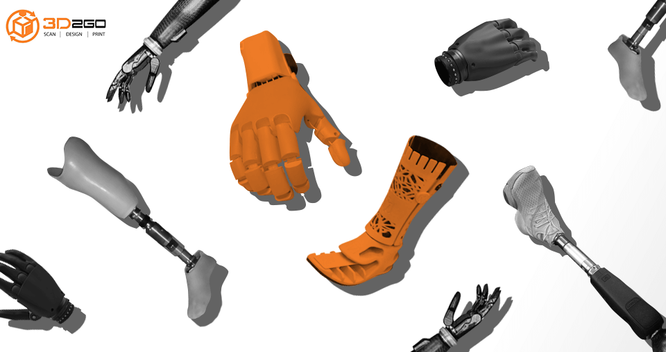 A blog banner by 3D2GO titled Revolution is here for 3D Printed Prosthetics