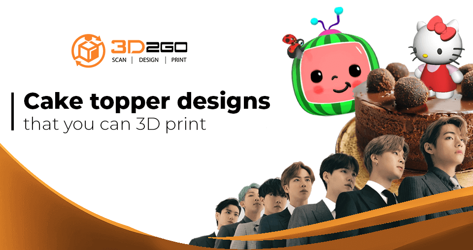 A blog banner by 3D2GO about 3D printed cake topper designs