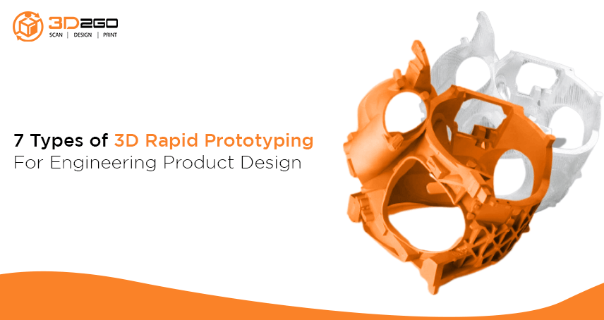 A blog banner by 3D2GO Philippines titled 7 Types of 3D Rapid Prototyping For Engineering Product Design