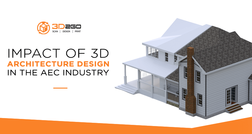 A blog banner by 3D2GO Philippines titled Impact Of 3D Architecture Design In The AEC Industry