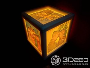 Colored lithopane box lamp